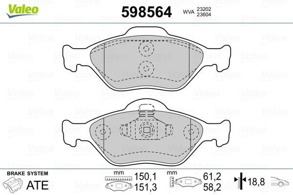 Plaquettes de frein avant VALEO 598564 (Jeu de 4)