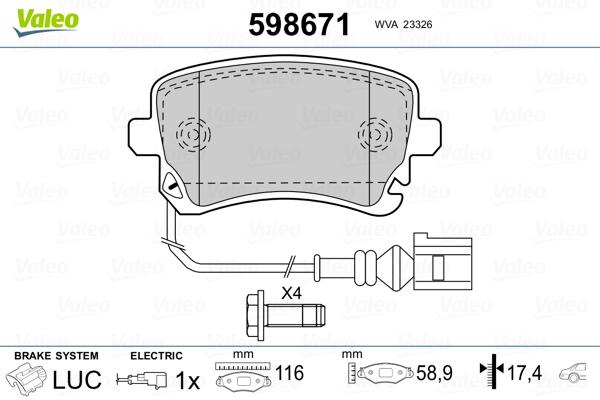 Plaquettes de frein arriere VALEO 598671 (Jeu de 4)