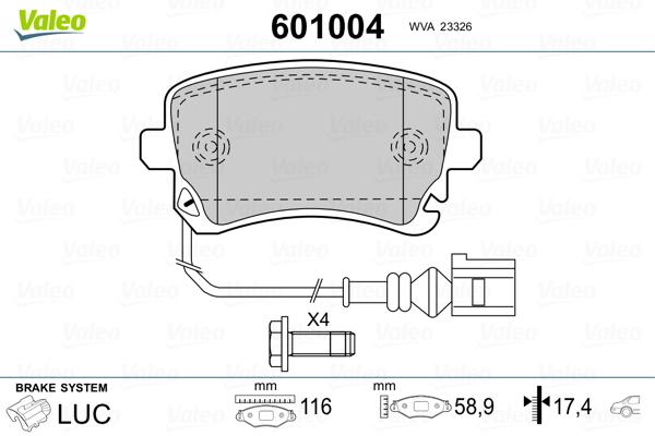 Plaquettes de frein arriere VALEO 601004 (Jeu de 4)