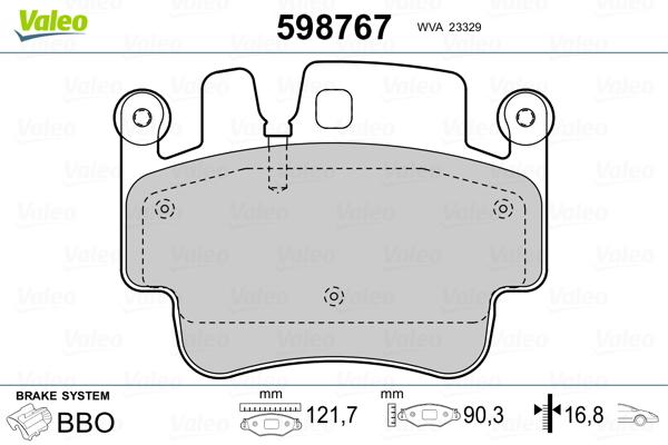 Plaquettes de frein VALEO 598767 (Jeu de 4)