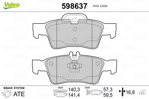 Kit de plaquettes de frein, frein à disque VALEO 598637 (Jeu de 4)