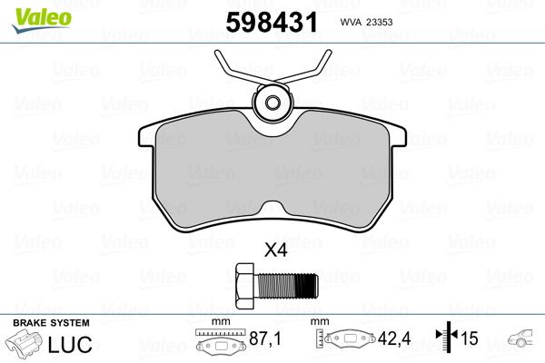 Kit de plaquettes de frein, frein à disque VALEO 598431 (Jeu de 4)