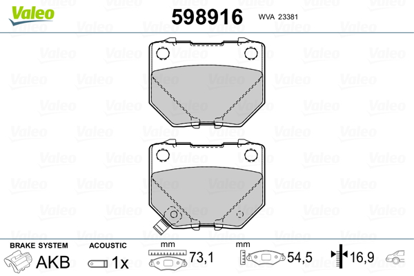 Plaquettes de frein arriere VALEO 598916 (Jeu de 4)