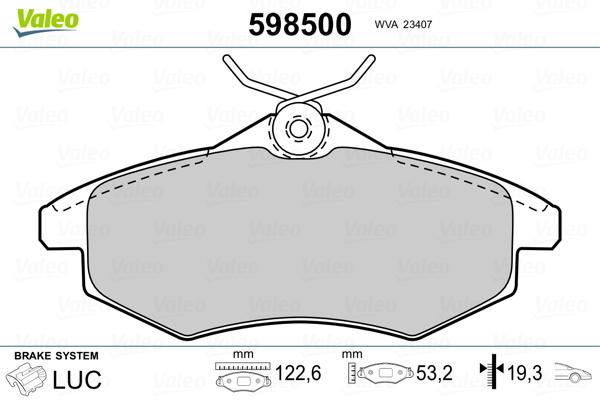 Plaquettes de frein avant VALEO 598500 (Jeu de 4)