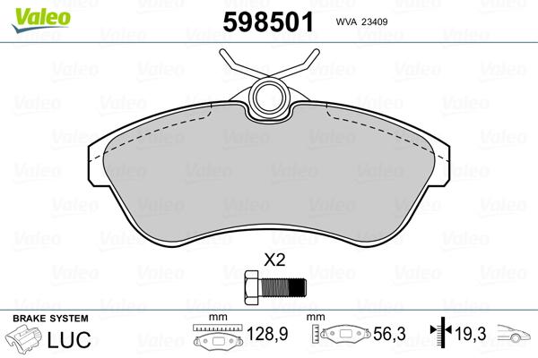 Plaquettes de frein avant VALEO 598501 (Jeu de 4)
