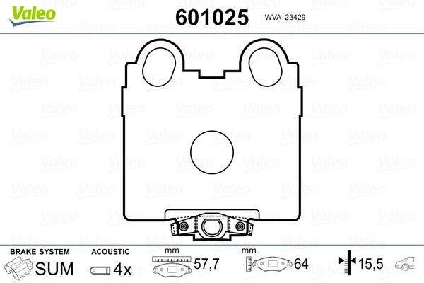 Kit de plaquettes de frein, frein à disque VALEO 601025 (Jeu de 4)