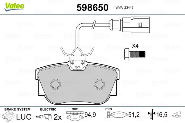 Kit de plaquettes de frein, frein à disque VALEO 598650 (Jeu de 4)