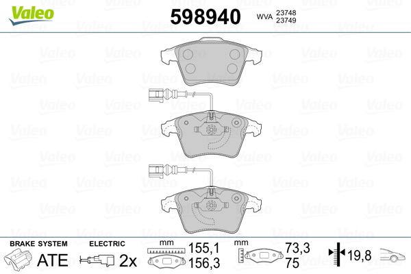 Plaquettes de frein avant VALEO 598940 (Jeu de 4)