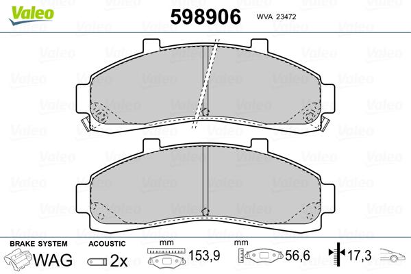 Plaquettes de frein avant VALEO 598906 (Jeu de 4)