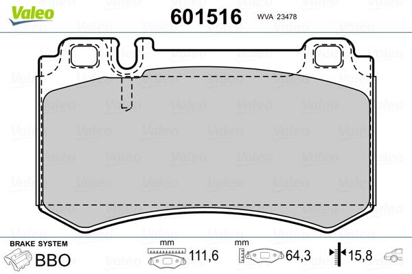 Kit de plaquettes de frein, frein à disque VALEO 601516 (Jeu de 4)