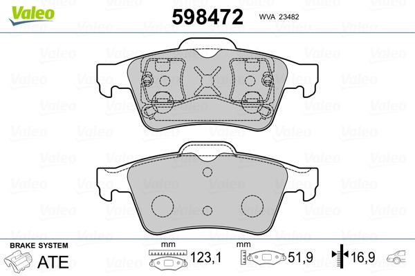 Kit de plaquettes de frein, frein à disque VALEO 598472 (Jeu de 4)