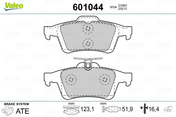 Kit de plaquettes de frein, frein à disque VALEO 601044 (Jeu de 4)