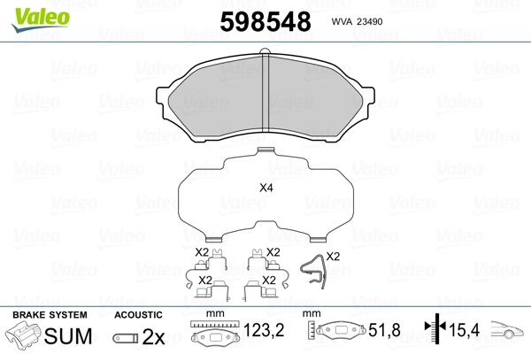 Plaquettes de frein avant VALEO 598548 (Jeu de 4)