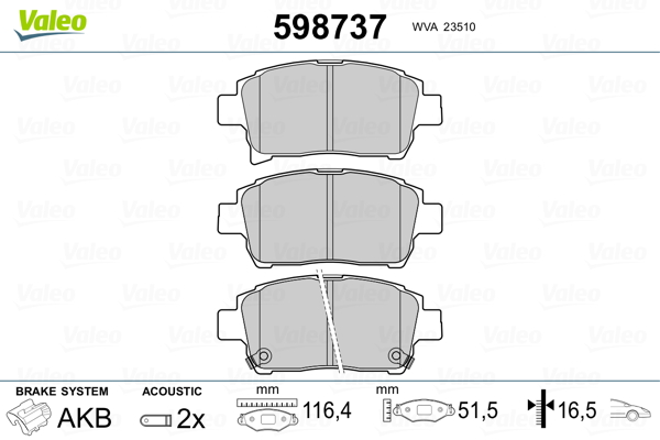 Plaquettes de frein avant VALEO 598737 (Jeu de 4)
