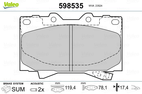 Plaquettes de frein VALEO 598535 (Jeu de 4)