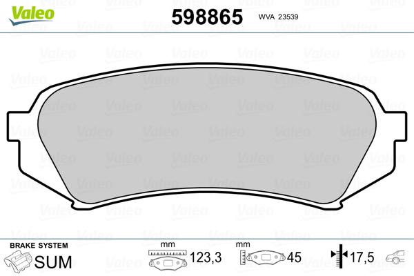 Kit de plaquettes de frein, frein à disque VALEO 598865 (Jeu de 4)