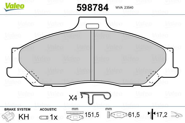Plaquettes de frein avant VALEO 598784 (Jeu de 4)