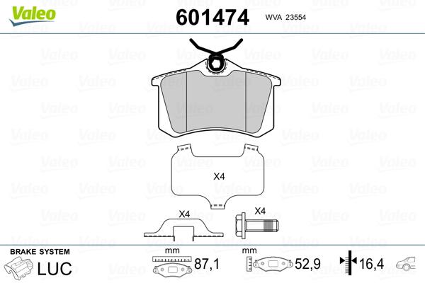 Plaquettes de frein VALEO 601474 (Jeu de 4)