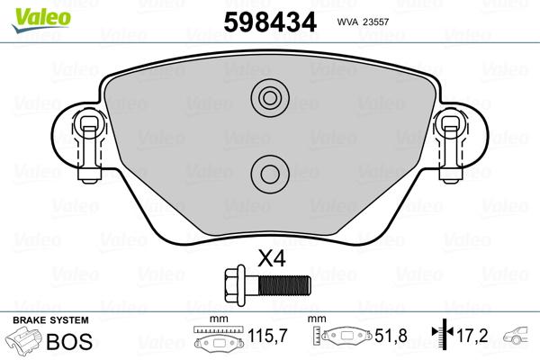 Kit de plaquettes de frein, frein à disque VALEO 598434 (Jeu de 4)