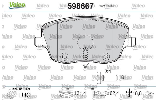 Plaquettes de frein avant VALEO 598667 (Jeu de 4)