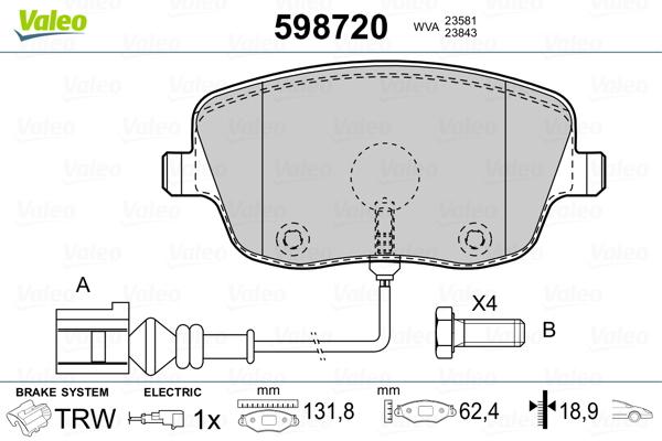 Plaquettes de frein avant VALEO 598720 (Jeu de 4)
