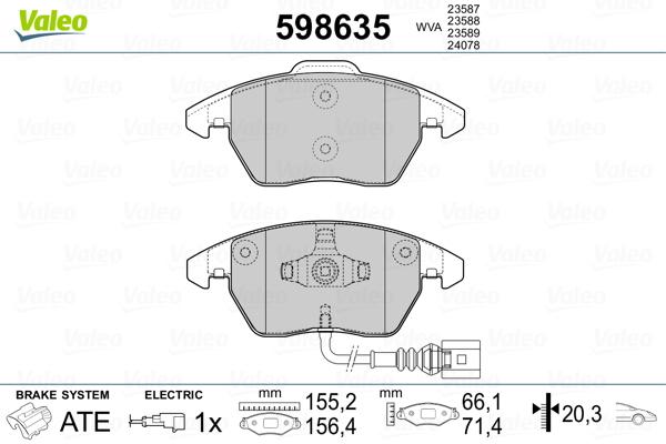 Plaquettes de frein avant VALEO 598635 (Jeu de 4)