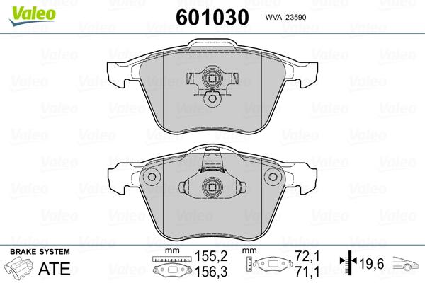 Plaquettes de frein avant VALEO 601030 (Jeu de 4)