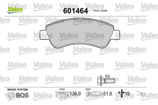 Plaquettes de frein avant VALEO 601464 (Jeu de 4)