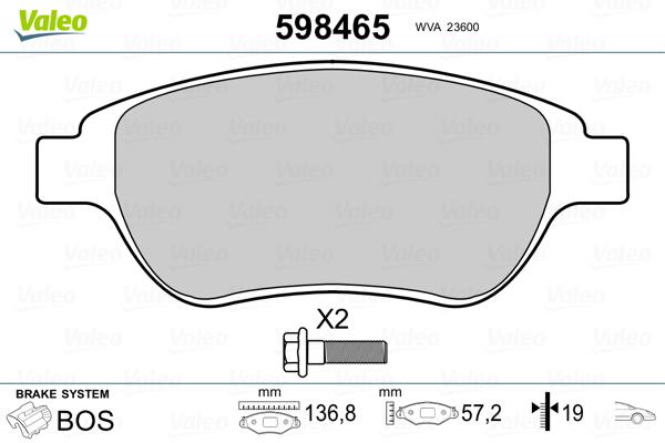 Plaquettes de frein avant VALEO 598465 (Jeu de 4)