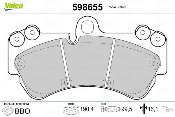 Plaquettes de frein avant VALEO 598655 (Jeu de 4)