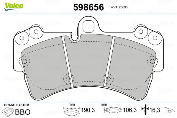 Plaquettes de frein avant VALEO 598656 (Jeu de 4)
