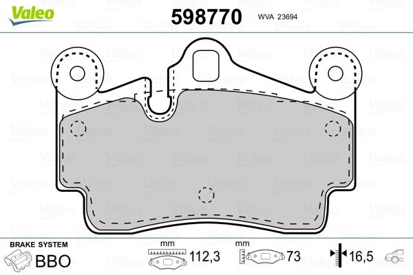 Plaquettes de frein arriere VALEO 598770 (Jeu de 4)