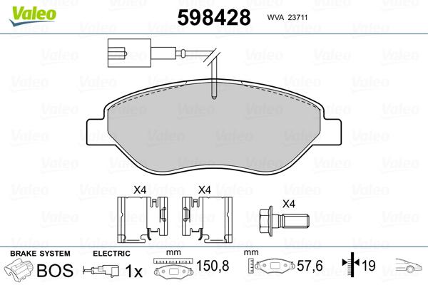 Plaquettes de frein avant VALEO 598428 (Jeu de 4)
