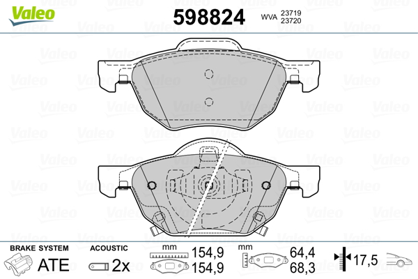Plaquettes de frein avant VALEO 598824 (Jeu de 4)