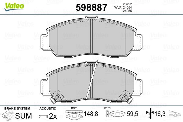 Plaquettes de frein avant VALEO 598887 (Jeu de 4)