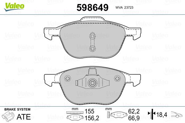 Plaquettes de frein VALEO 598649 (Jeu de 4)