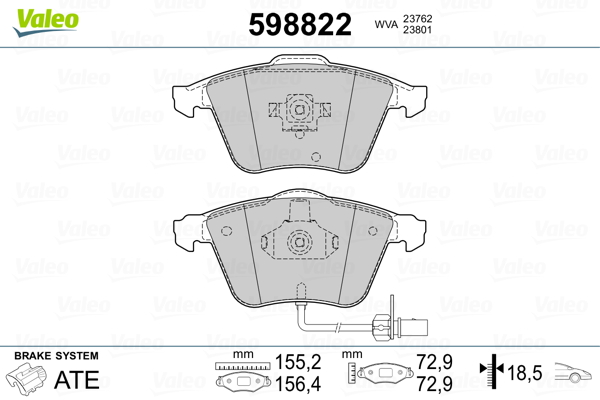 Plaquettes de frein avant VALEO 598822 (Jeu de 4)