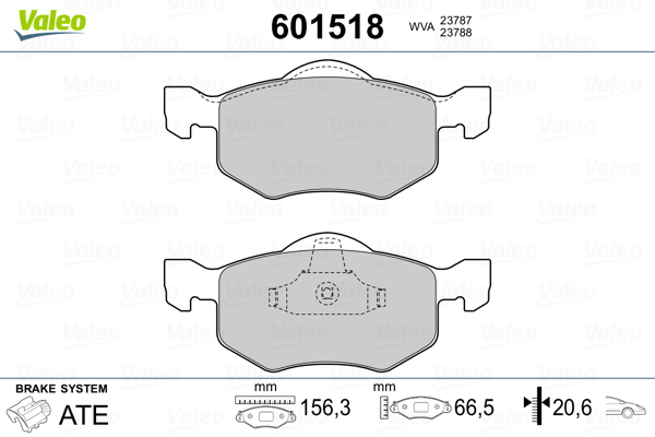Plaquettes de frein avant VALEO 601518 (Jeu de 4)