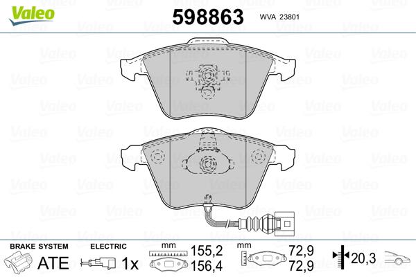 Plaquettes de frein avant VALEO 598863 (Jeu de 4)