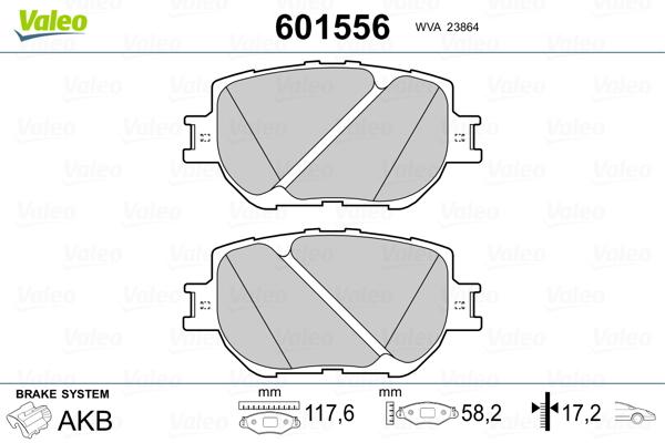 Plaquettes de frein avant VALEO 601556 (Jeu de 4)
