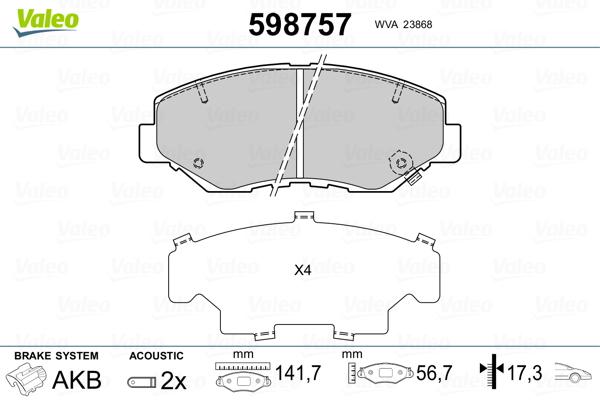 Plaquettes de frein VALEO 598757 (Jeu de 4)