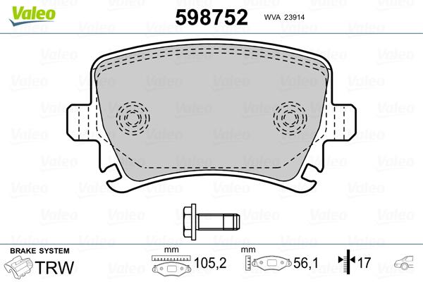 Plaquettes de frein arriere VALEO 598752 (Jeu de 4)