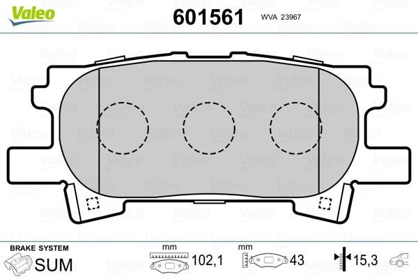 Kit de plaquettes de frein, frein à disque VALEO 601561 (Jeu de 4)