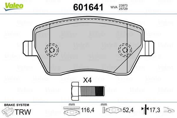 Plaquettes de frein VALEO 601641 (Jeu de 4)