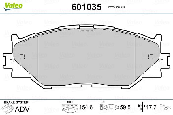 Plaquettes de frein avant VALEO 601035 (Jeu de 4)