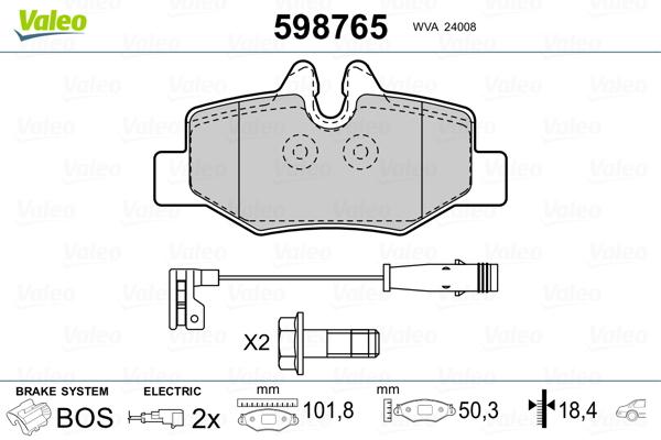 Kit de plaquettes de frein, frein à disque VALEO 598765 (Jeu de 4)