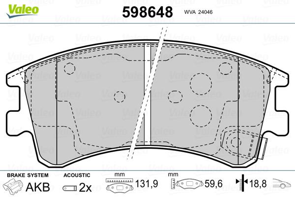 Plaquettes de frein avant VALEO 598648 (Jeu de 4)