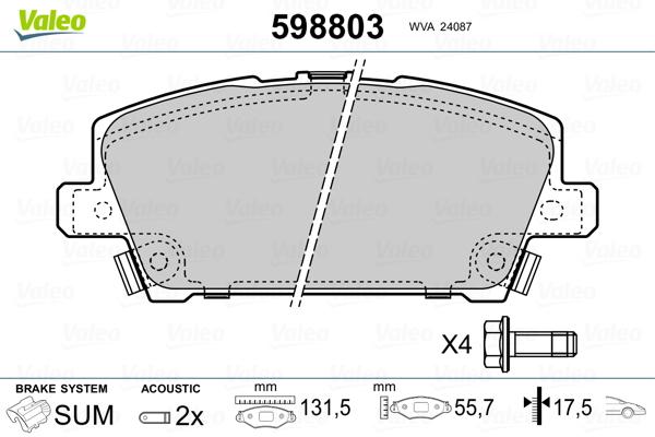 Plaquettes de frein avant VALEO 598803 (Jeu de 4)