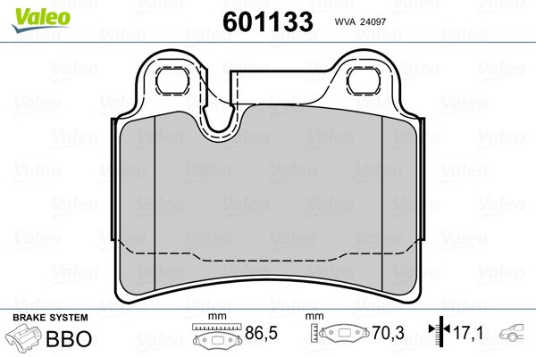 Plaquettes de frein arriere VALEO 601133 (Jeu de 4)