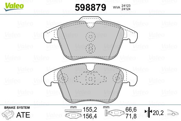 Plaquettes de frein avant VALEO 598879 (Jeu de 4)